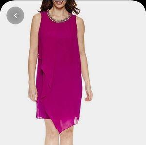 MSK Sleeveless Chiffon Necklace Shift Dress, Women